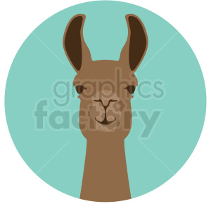 llama head on circle background clipart. Royalty-free image # 410150