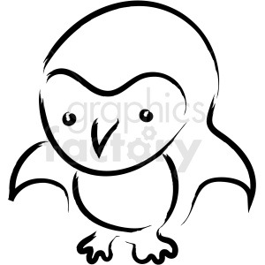 cartoon penguin drawing vector icon