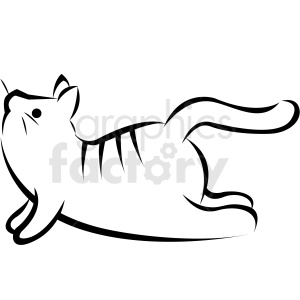 black and white cartoon cat doing yoga upward facing dog pose vector clipart. Commercial use image # 410640