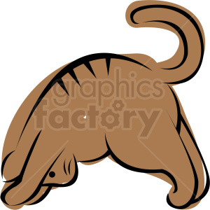 cartoon cat doing yoga downward facing dog pose vector clipart. Royalty-free image # 410648