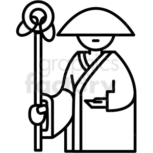 japanese man vector icon clipart. Commercial use image # 410698
