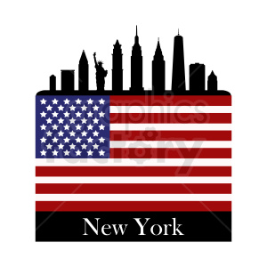 New York city with American flag design clipart. Commercial use image # 410754