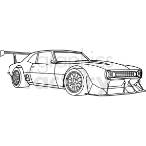 vintage custom mustang race car vector outline