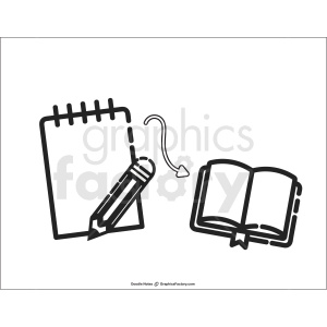 writing doodle note printable page clipart. Commercial use image # 411190