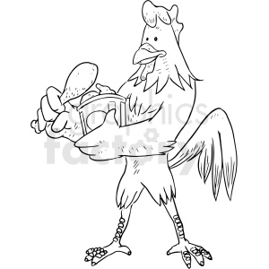 chicken eating drumstick vector clipart clipart. Royalty-free image # 411231