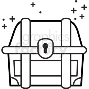 treasure chest with sparkles vector icon