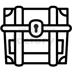 thick lines treasure chest vector icon clipart. Royalty-free image # 411239
