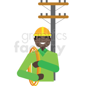 black electrician flat icon vector icon clipart. Royalty-free image # 411321