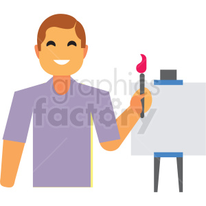 man painting flat icon vector icon clipart. Commercial use image # 411331