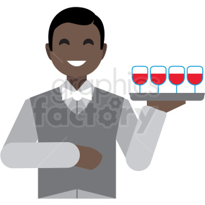 black waiter flat icon vector icon clipart. Royalty-free image # 411335