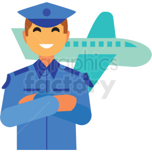 pilot flat icon vector icon clipart. Royalty-free icon # 411347
