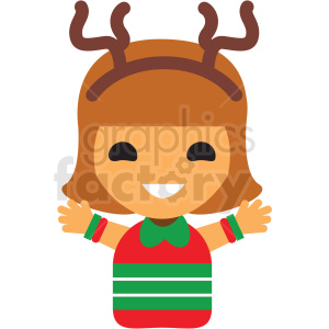 christmas avatar girl vector icon