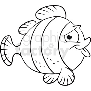 black white cartoon fish clipart clipart. Commercial use image # 411425