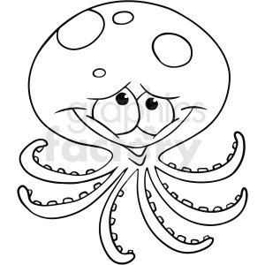 black white cartoon octopus clipart. Royalty-free image # 411431