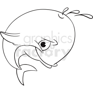 black white cartoon dolphin clipart clipart. Commercial use image # 411433