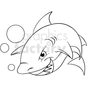 black white cartoon shark clipart clipart. Commercial use image # 411440