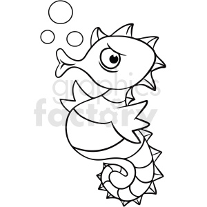 black white cartoon seahorse clipart. Commercial use image # 411441