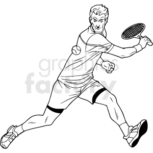 black and white tennis player vector clipart clipart. Commercial use image # 411459