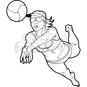 black and white girl volleyball player vector clipart