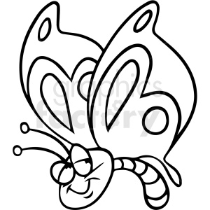 cartoon butterfly black white vector clipart clipart. Royalty-free image # 411490