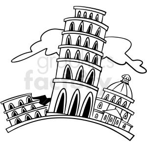 cartoon leaning tower of pisa Italy black white vector clipart clipart. Royalty-free image # 411500