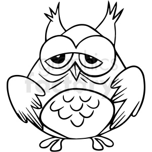 cartoon owl black white vector clipart clipart. Commercial use image # 411651