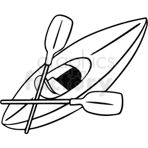 black and white cartoon kayak vector clipart clipart. Royalty-free image # 411748