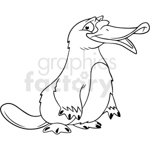 black and white cartoon platypus vector clipart clipart. Royalty-free image # 411798