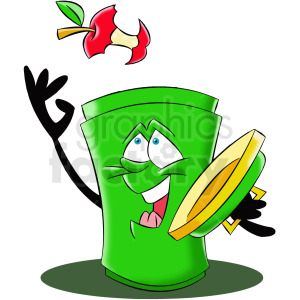 cartoon trash can character trowing trash away clipart. Royalty-free image # 412422