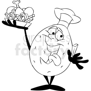 black and white cartoon potato chef serving dinner
