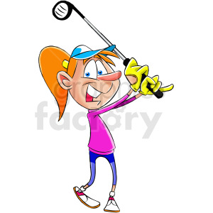 cartoon woman golfer clipart. Commercial use image # 412452
