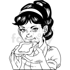black and white retro girl eating toast vector clipart clipart. Royalty-free image # 412460