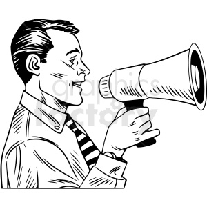black white vintage man speaking through megaphone vector clipart