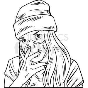 black and white female wearing n95 face masks vector illustration