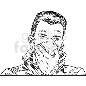black and white male wearing n95 face masks vector illustration clipart. Commercial use image # 412600