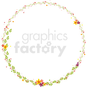 floral circle border vector clipart clipart. Commercial use image # 412630