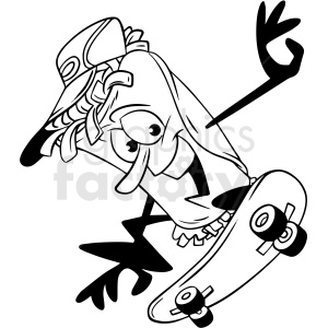 black white taco cartoon character skateboarding vector clipart clipart. Commercial use image # 412632