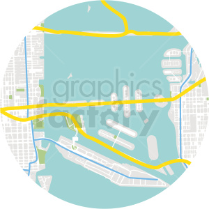 circle aerial coastal map vector design clipart. Royalty-free image # 412668