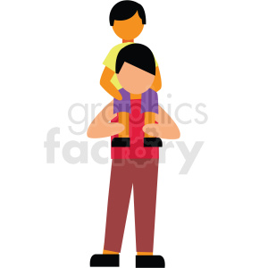 child on fathers shoulders playing vector clipart clipart. Commercial use image # 412743