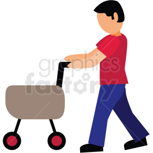 dad pushing stroller vector clipart clipart. Royalty-free image # 412745