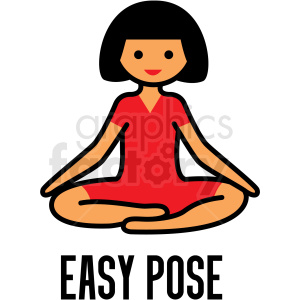 girl doing yoga easy pose vector clipart clipart. Commercial use image # 412788