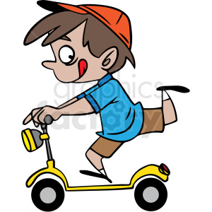 cartoon child riding a scooter vector clipart. Commercial use image # 412847