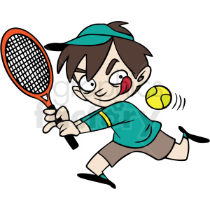 cartoon child playing tennis vector clipart. Commercial use image # 412852