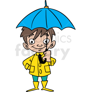 cartoon child holding umbrella vector