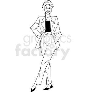 90s women wearing suit vector clipart clipart. Royalty-free image # 412905
