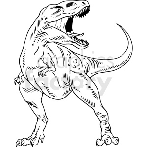 black and white t rex dinosaur vector illustration clipart. Commercial use image # 412916