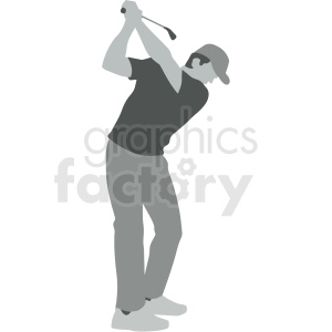 guy swinging golf club vector illustration clipart. Royalty-free image # 412926