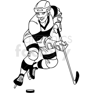 black and white hockey player with puck clipart clipart. Royalty-free image # 412932