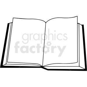 black and white open book vector clipart clipart. Commercial use image # 413000