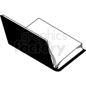 black and white open book